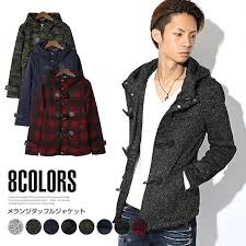 duffle coat men s jacket fleece nit duffle short length short coat hood toggle on outer thick lightweight winter melange camouflage with check casual