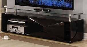 black high gloss television unit with glass top