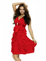 Kurz V Ausschnitt Rüschen Chiffon Rotes Kleid
