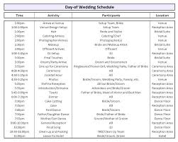 Wedding Party Schedule Template Timeline Itinerary For Bridal