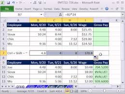 Monthly Paycheck Calculator Excel Magic Trick 722 Calculate Gross Pay For Week From Time Values In Range Hourly Wage