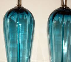 matched pair of vintage murano table lamps in teal blue 5
