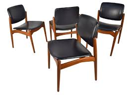 superb and hard to find set of teak dining chairs designed by erik buck for
