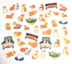 <b>40 Pcs</b> Little <b>Corgi</b> Washi Sticker Dogs Sticker Flakes Dog | Etsy