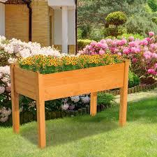 wooden elevated garden bed