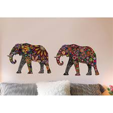 Small Picture Aliexpresscom Buy Elephant Flower pattern Wall Sticker