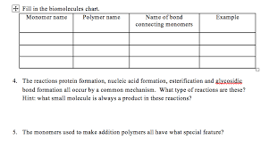 Monomer And Polymer Chart Solved Fill In The Biomolecules Chart Monomer Name Polym