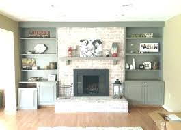 white built in cabinets around fireplace ins stone