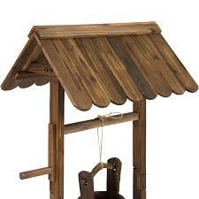 best choice s wooden wishing well bucket flower planter patio garden outdoor home decor com