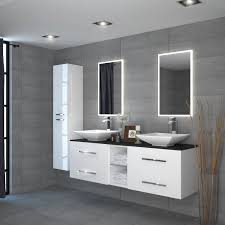 unit black and white double vanity and sink
