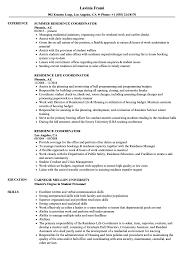 Accomodation Officer Sample Resume Residence Coordinator Resume Samples Velvet Jobs 7