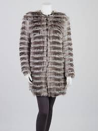 burberry mid grey striped fox mink rabbit fur coat size 2 ita36