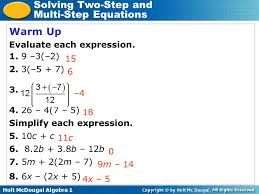 solving two step and multi step equations warm up lesson presentation 2 warm