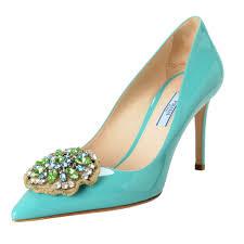 details about prada women s blue patent leather high heel pumps shoes sz 9 10 10 5