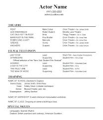 Acting Cv Templates Free Example Of A Dance Resume Audition Template