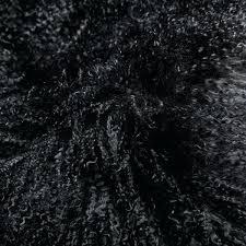 mongolian sheep fur rug sheepskin black approx x 2