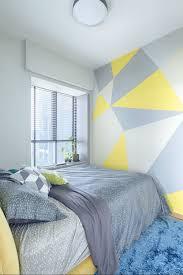geometric pattern wall paint diy bedroom prozfile