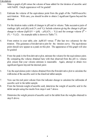 Titration Formula Chemistry 119 Experiment 7 Potentiometric Titration Of Ascorbic