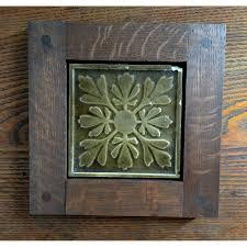 framed antique fireplace tile gold brown