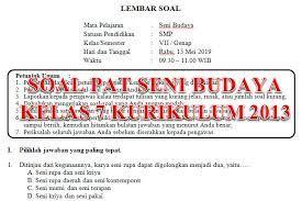 Try the suggestions below or type a new query above. Soal Dan Kunci Jawaban Pat Seni Budaya Smp Kelas 7 Kurikulum 2013 Tahun Pelajaran 2018 2019 Didno76 Com