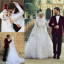 discount muslim wedding dresses 2015 new fashion high neck long