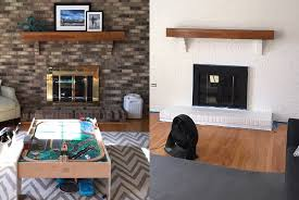 diy painted fireplace surround and brick wall