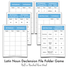 Latin Noun Declension File Folder Games Cues Printables