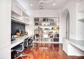 white office design. Custom Built-in Bookshelf Brings Color To This White Home Office [Design:  M.a.p. Design