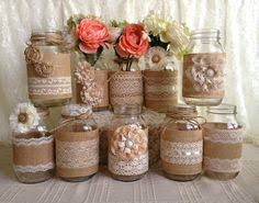 Decorating With Mason Jars And Burlap Set of 100 Burlap Quart Mason jar wraps Rustic by ElianasTreasures 14