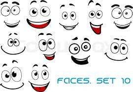 happy and joyful emotions on cartoon smiling faces for humor