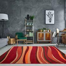 warm red brown burnt orange modern waves area rug small large soft carpet rugs