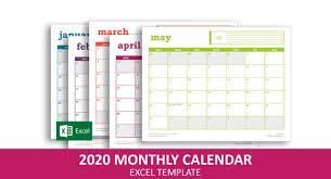 Easy Event Calendar 2020 Excel Template Printable Monthly Calendar Instant Digital Download