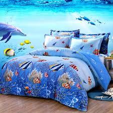 ocean blue and colorful marine life scene tropical hawaiian fish and starfish print kids twin full size bedding sets