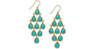 lyst lauren by ralph lauren gold tone stone teardrop chandelier earrings in blue