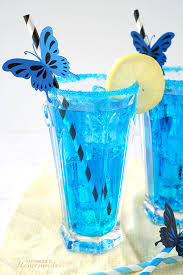 electric blue erfly cocktail and mocktail inspired by alice through the looking glass