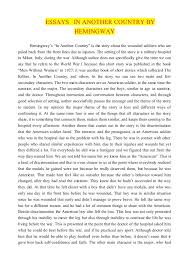 "essays j in another country by hemingwayba essays in another country by hemingway hemingway s ""in another country"" is the story about"