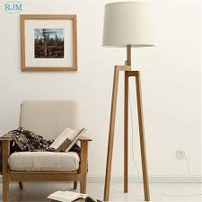 2019 nordic simple warm wood floor lamp tripod wooden cloth lampshade table lights for bedroom bedside living room restaurant decor from kirke