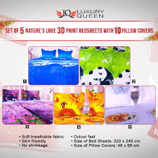 buy set of nature s love d print bed sheets pillow set of 5 nature s love 3d print bed sheets 10 pillow covers