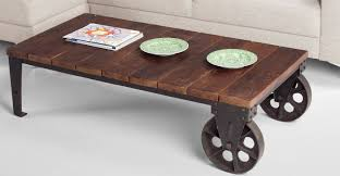 Industrial Looking Coffee Tables Industrial Coffee Table On Wheels With Casters Afim Thippo