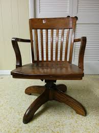 vintage wooden office chair oak antique wood furniture conference room chairs computer desk stool with file