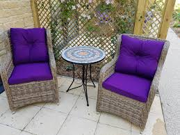 patio set 2x rattan chair stone table