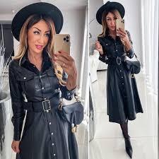 PU Shirts Dress Ladies Buttons Black Leather Dresses With Belt Spring  Autumn Long Sleeve Turn Down Collar Women Maxi Dress D35|Dresses| -  AliExpress