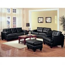 Coaster Samuel 3 Piece Leather Sofa Set in Black