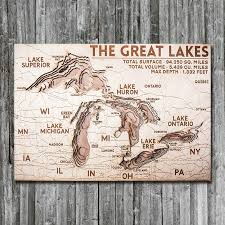 Lake Superior Depth Chart Great Lakes Wood Map Framed 3d Nautical Wood Chart
