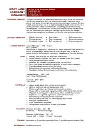 Restaurant Manager Resume Template Restaurant Assistant Manager Resume  Templates Cv Example Job Templates