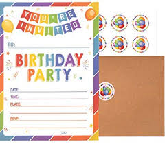 B Day Invitation Cards Birthday Invitations With Envelopes And Stickers 25 Pack Kids Rainbow Party Invites Colorful