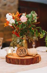 rustic wood wedding centerpiece for fall