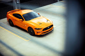 ford mustang top view. orange fast car ford mustang, 2018 top view mustang t