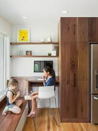 kitchen office nook. Example Of A Trendy Medium Tone Wood Floor Kitchen Design In Philadelphia With Flat-panel Office Nook