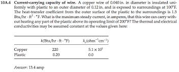 Current Carrying Capacity Of Copper Wire Chart Solved 10a 4 Current Carrying Capacity Of Wire A Copper